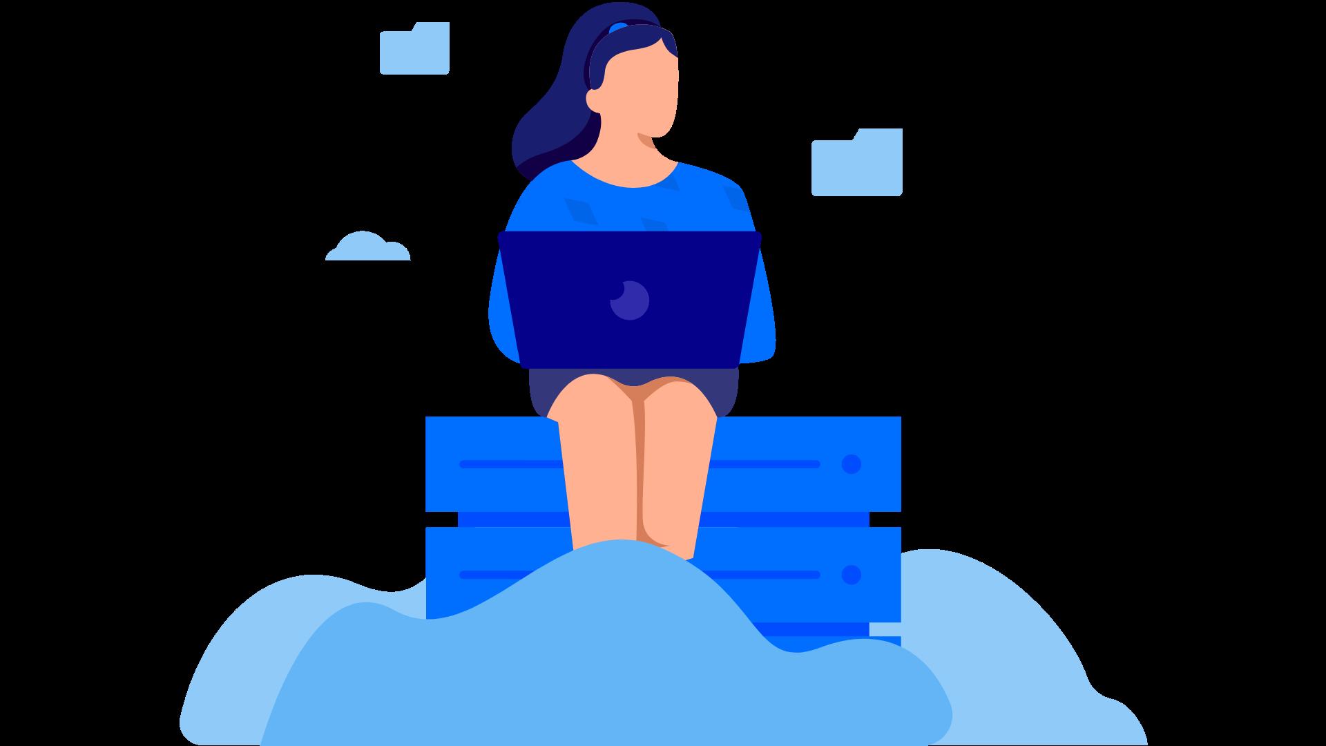 Mulher trabalhando na nuvem